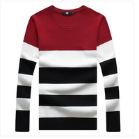 2015 Autumn And Winter Fashion Explosion Models Spell Color Men S Long Sleeved Striped Sweater