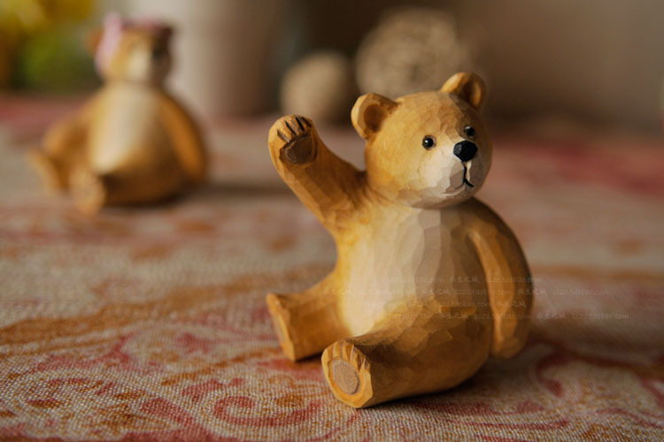 Popular wooden bear carvings buy cheap wooden bear for Bear decorations for home