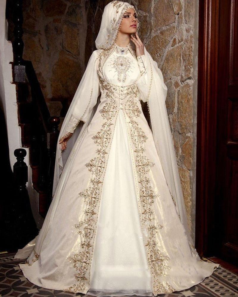 New Arrival Muslim Saudi Arabia Wedding Dress Embroidery High Neck ...