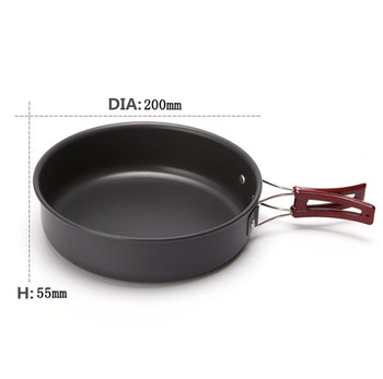 High quality Ultralight Camping Cookware Frying Pot outdoor tableware Picnic 2-3 Person Frying Pan Fry Pan Portable Single Pot 3