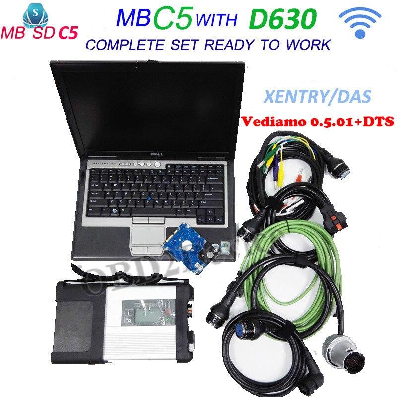 New MB Étoile C5 pour Star Diagnostic Outil avec 12/2018 logiciel vediamo 05.01 + DTS avec pour Dell D630 Ordinateur Portable MB étoiles sd connecter C5