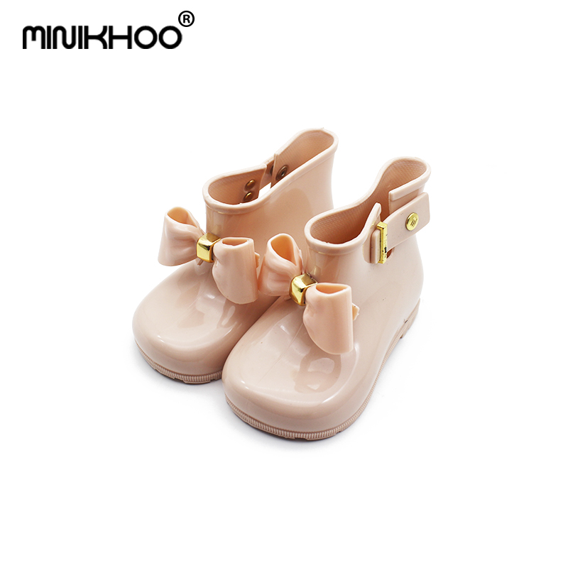 Mini Melissa 2018 mini Children Bow Butterfly Shoes Girls Jelly Non-slip Water Boots Princess Shoes Boots Candy Color Sandals