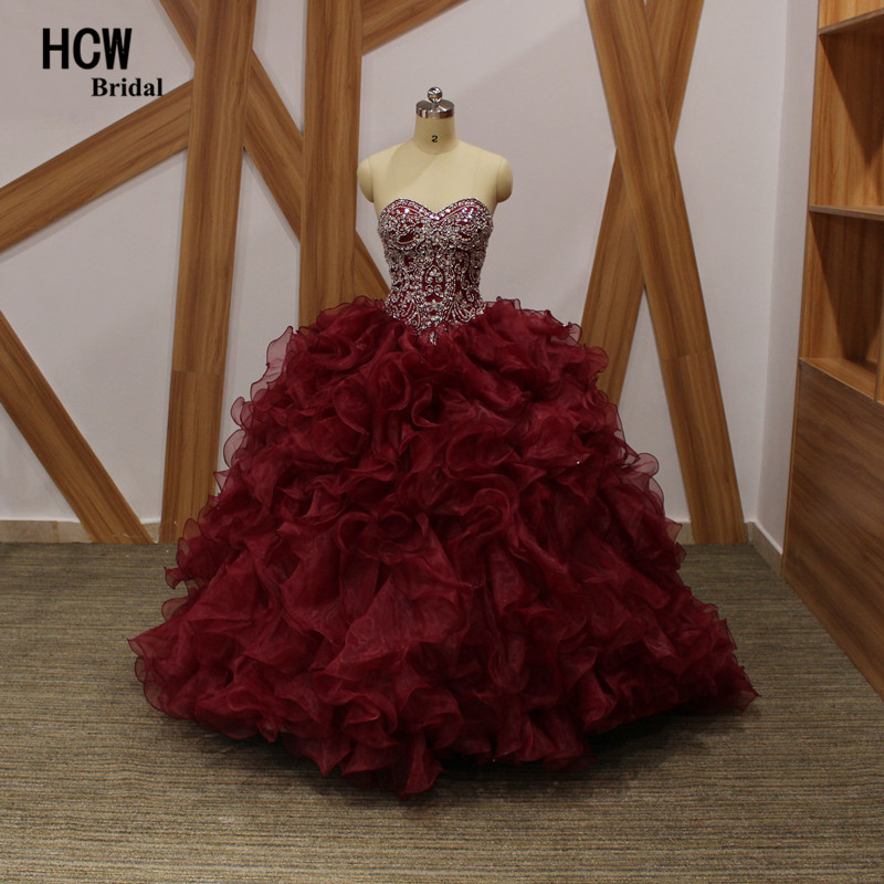 Burgundy Ball Gown Quinceanera Dress 2019 Ruffles Mewah Tiered Korset Lace Up Sweet 16 Parti Pakaian Long Quinceanera Gowns