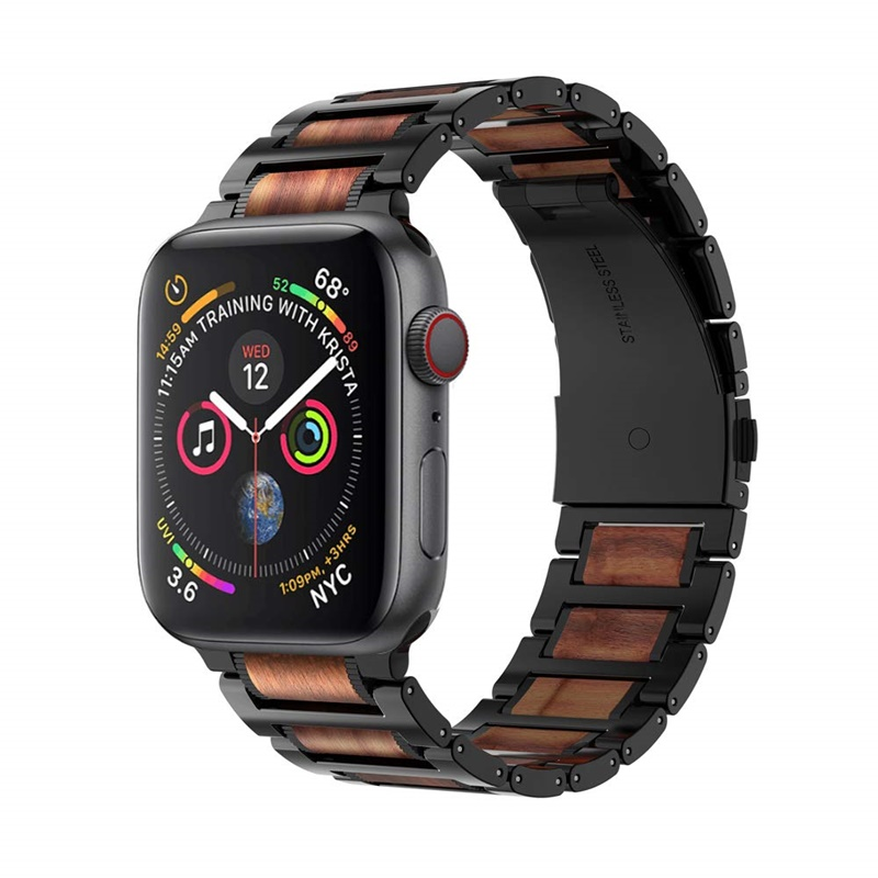 Natural Wooden Red Sandalwood Stainless Steel Link Bracelet Strap for Apple iWatch Series 4/3/2/1,42/44mmNatural Wooden Red Sandalwood Stainless Steel Link Bracelet Strap for Apple iWatch Series 4/3/2/1,42/44mm