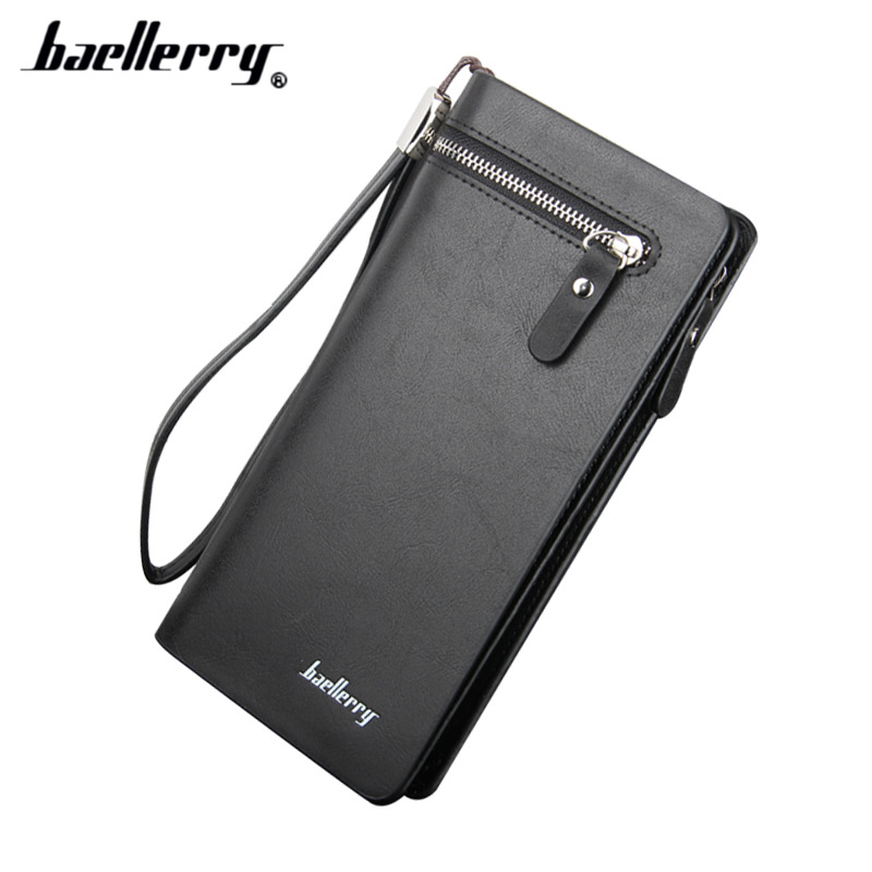 2016 New Wallet Men's PU Leather Long Zipper Purse Business Style Baellerry Wallet  Card Cash Receipt Holders Card ID Holders