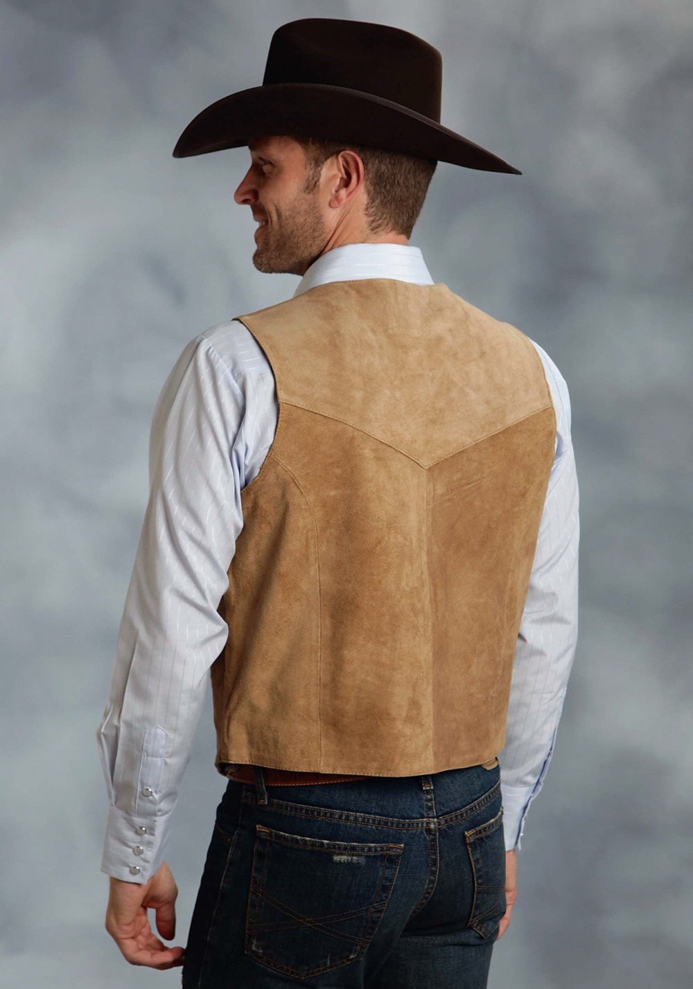 Roper Mens Brown Silky Cow Suede Leather Embossed Snap Western Vest 2