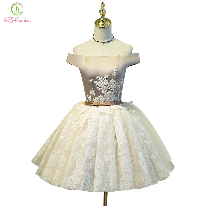 SSYFashion New Arrival Short   Cocktail     Dress   Sweet Champange Lace Embroidery Boat Neck A-line Party Gown Custom Formal   Dresses