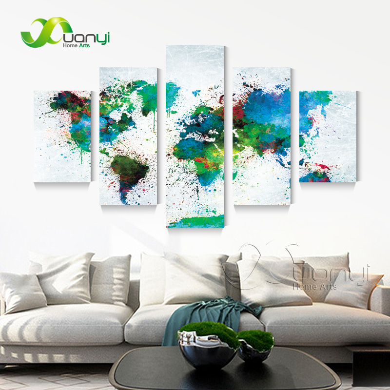 XUANYI 5 Panel Modern Abstract Wall Art Canvas Painting World Map For Living Room Home Decor