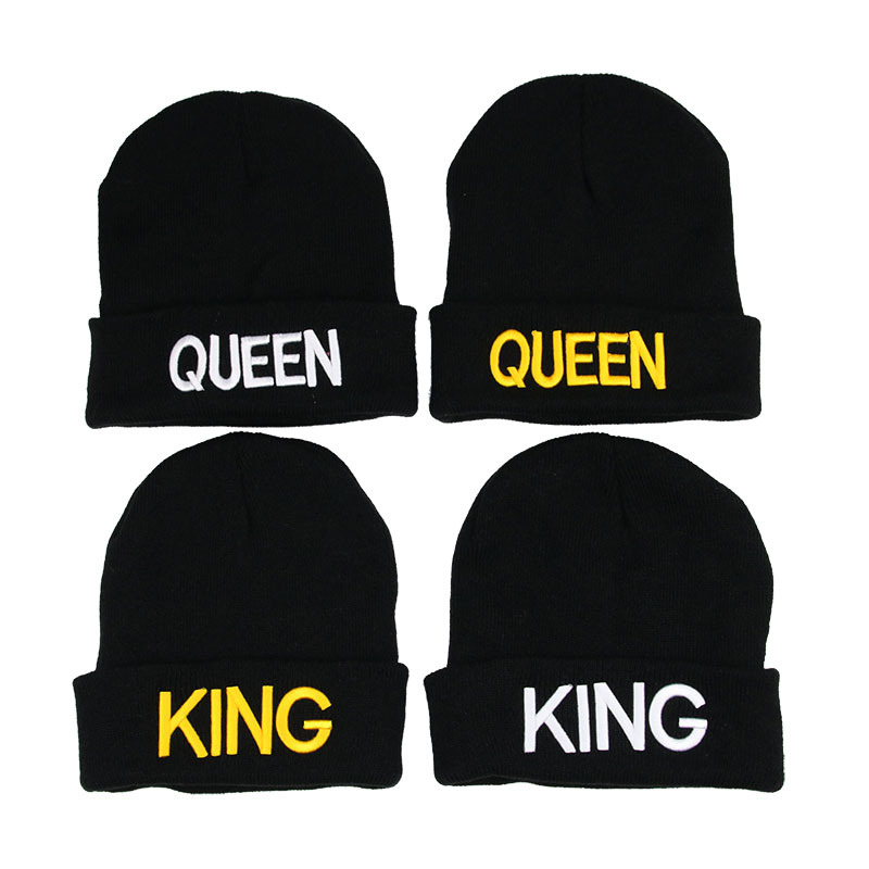 Wholesale 1 Pcs Hat Letter Embroidery   Beanies   for Men Women Warm Knitted Winter Hat Fashion Solid Hip-hop   Beanie   Hat Couple Cap