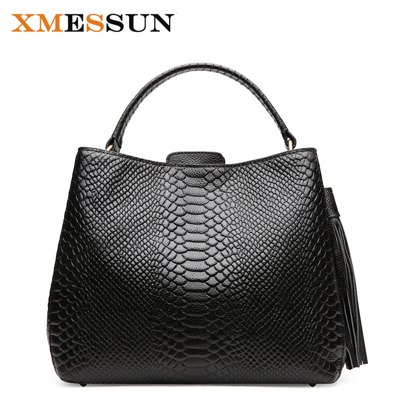 2018 Winter Genuine Leather Women s Handbag Real Leather Crocodile Pattern Large Ladies Shoulder Bag Elegant