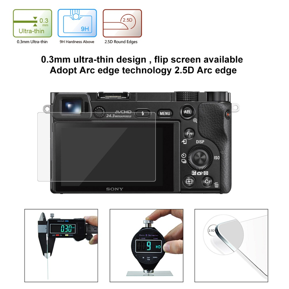 PULUZ Screen Protector For Sony A6000 A6300 RX100 HX7 HX9 HX100 HX50 HX60 ILCE 9 A9 WX350 WX300 2 5D 9H Tempered Glass in Camera LCD Screen from Consumer Electronics