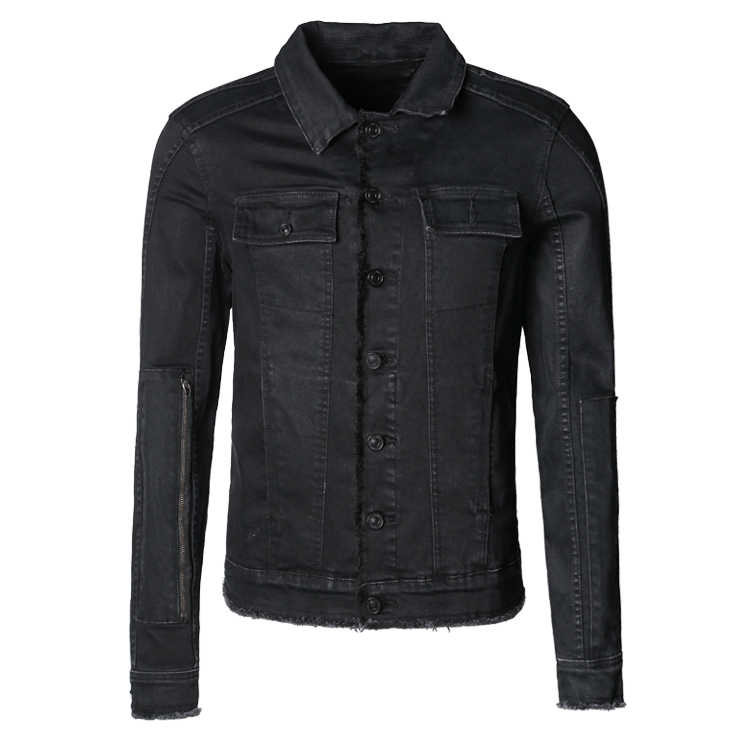 男性の秋スリムカジュアル黒デニムヨーロッパスタイルのファッションジャケット Mextrosexual 男性固体ヒップホップレトロ生き抜くジャケット F313