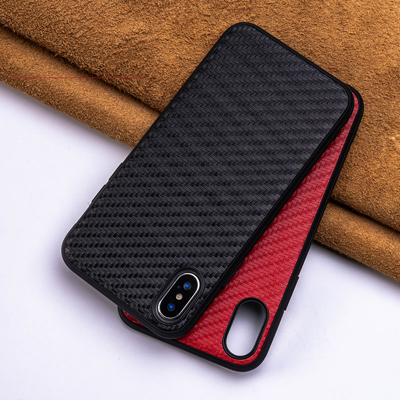 iphone 7 case for iphone X 6 6s 8 plus XR XS max phone bag case waterproof cowhide leather woven Grain brown red black