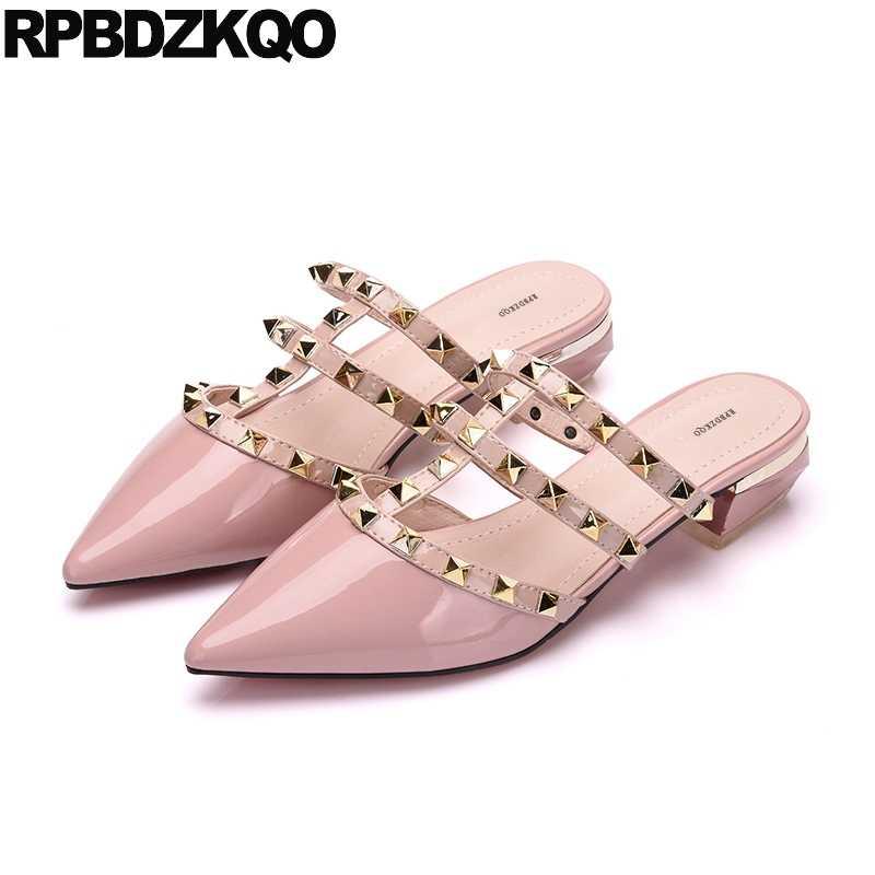 online retailer 3cc7d 26cb6 Leather Women Mules Summer 2018 Pink Runway Studded Plain ...