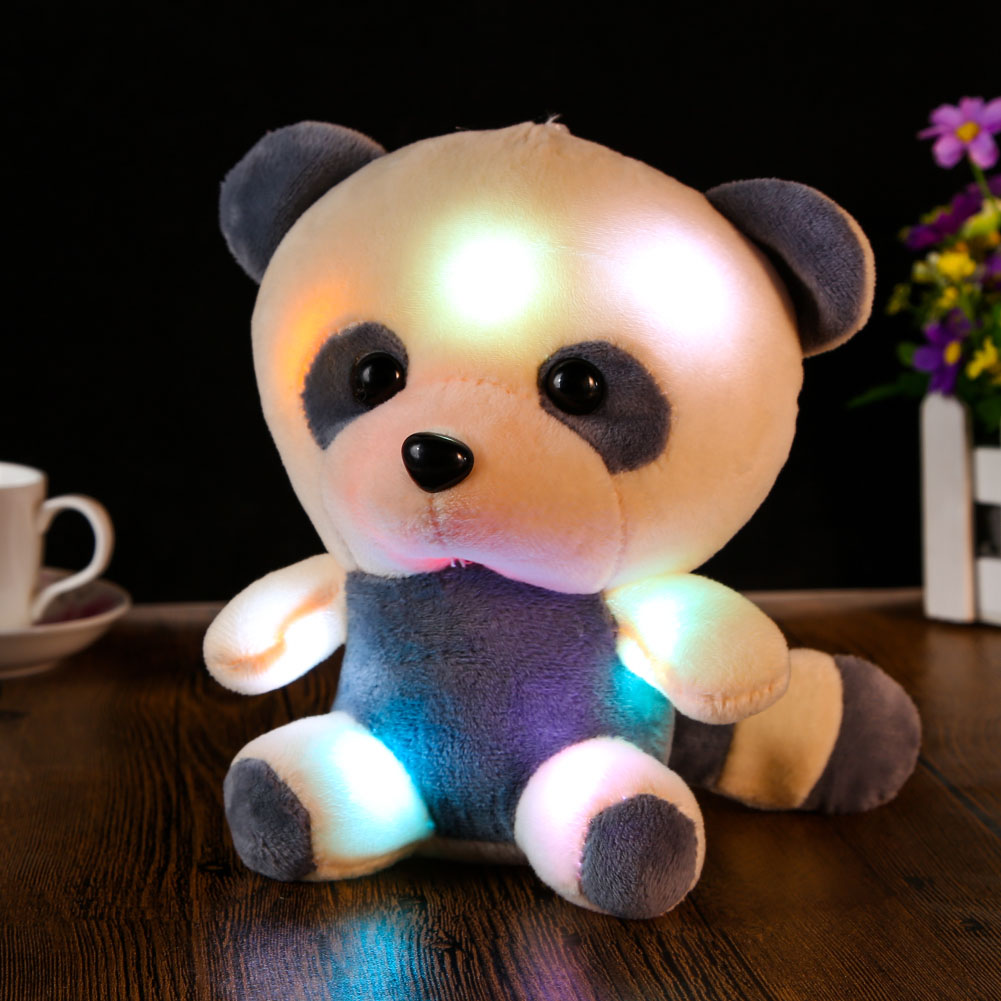 Electronic Large Panda Stuffed Plush Toy Doll Colorful LED Flashing Plush Toys Kids Children Great Birthday Gift High Quality large cute plush led panda teddy bear doll new year s gift colorful rainbow flash light children girl toy