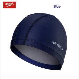 Speedo Plain Flat Waterproof Swimming Caps PU for Men and Women Swimming Pool Hat Ear Protection Bathing Cap(China)