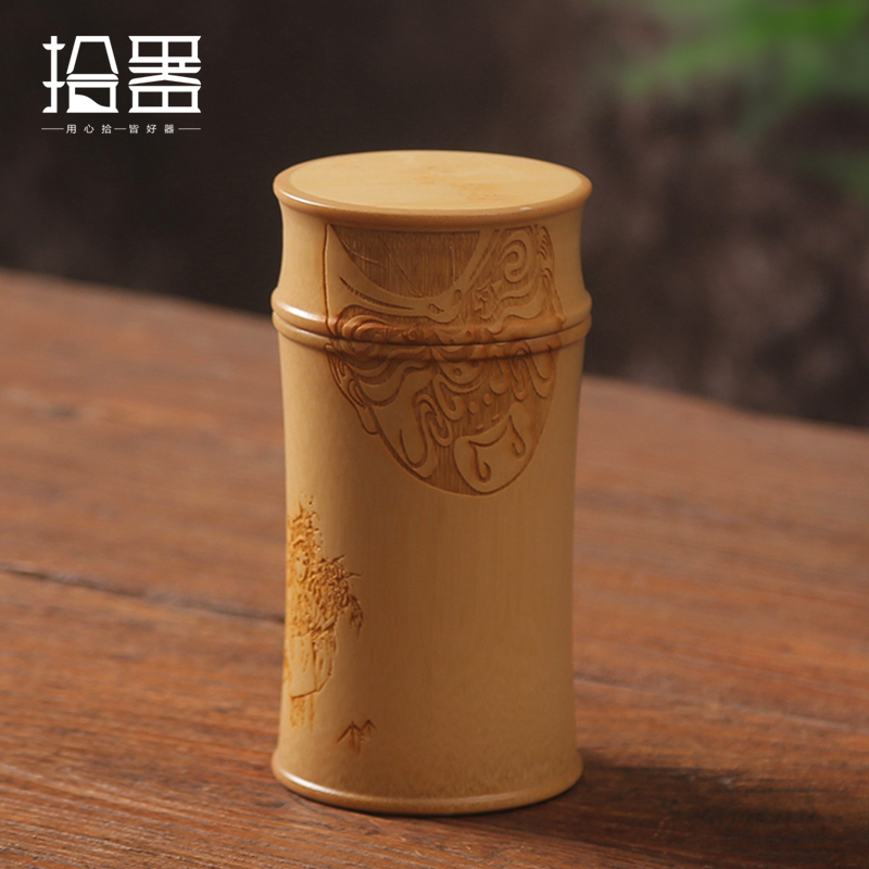 Handmade Bamboo Storage Box Kitchen Tea Container Jar Cans Organizer Spice Round Vacuum Caps Seal Canister Carving Peking Opera