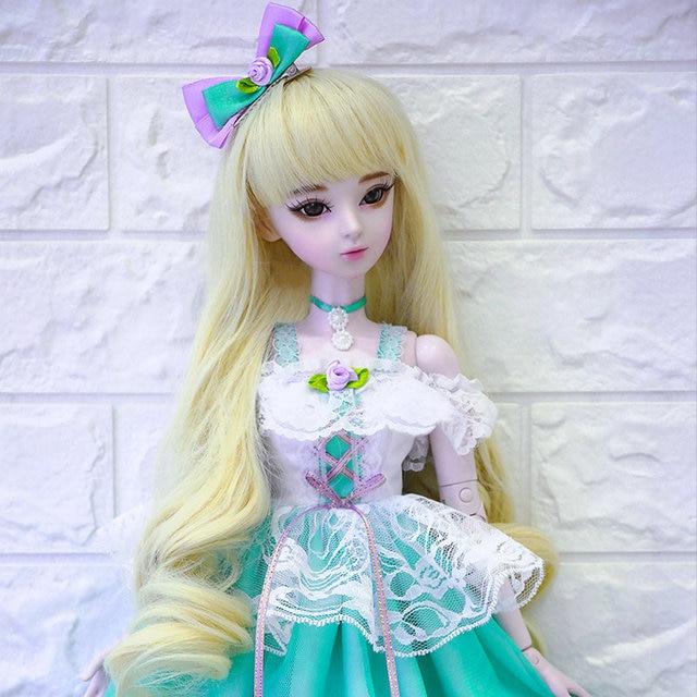 60cm SNOW QUEEN Doll 1 3 Bjd 23 Jointed Handmade Wedding Dress Princess Girls Dolls Kids