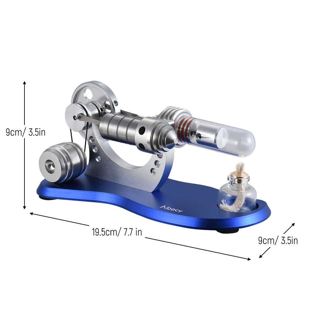 Aibecy Mini Modelo de Ar Quente Do Motor Stirling Motor Gerador de Eletricidade de Metal Base Física Ciência Educacional Toy Azul para as crianças