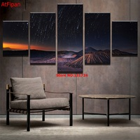 PENGDA Modern Home Wall Decor Canvas Pictures HD Print 5 Panel Starry Sky Volcano Meteor Shower