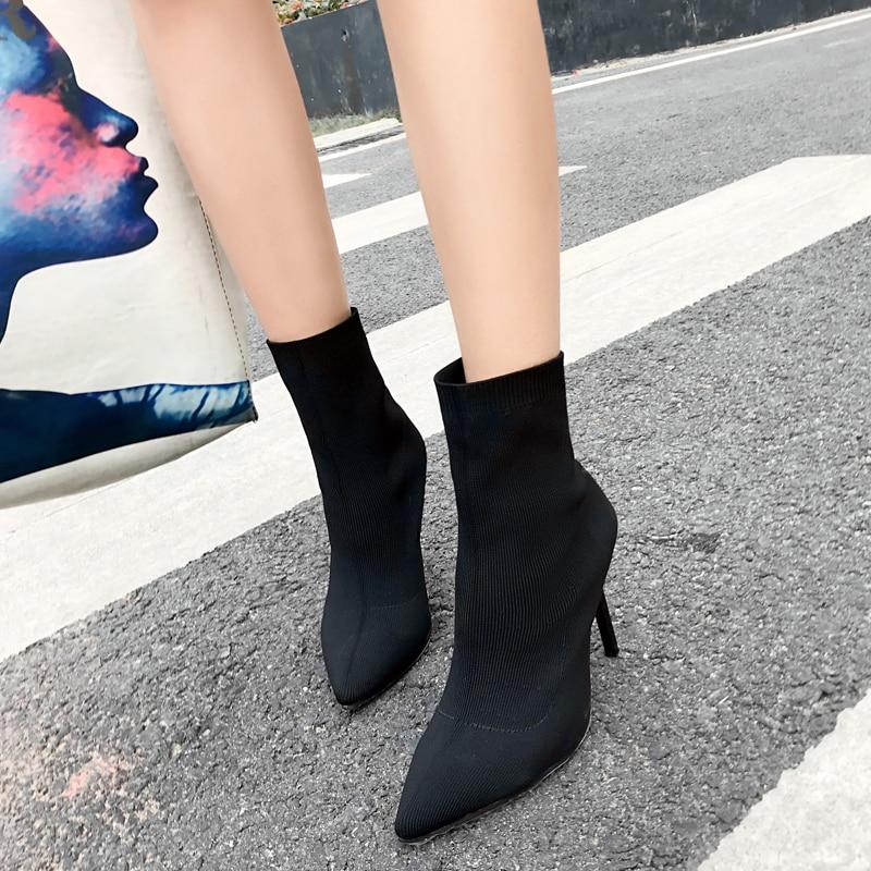 Ankle Größe 10 Fashion 40 Zzz1523 Heels Pumpe Herbst Sexy Dünne Spitz Booties Frühling High Black Frauen Stretch Stiefel Elastische Socke qCnw5UZ5p