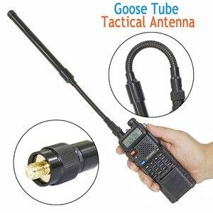 Image 1 - ABBREE AR 148 gęsia tuba sma female dwuzakresowy 144/430Mhz składana CS taktyczna antena do walkie talkie Baofeng 5R BF 888S Radio