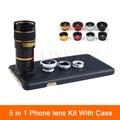 Nuevo 5en1 cámara de lentes para iphone 4 4s 5 5s 6 6 s 7 más Casos de Teléfono Telescopio Del Zumbido 8X Lente de ojo de Pez Gran Angular Lente Macro + Clips