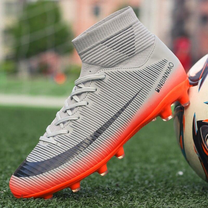 BOOMING Adult Soccer Shoes Men Boy Football Boots High Ankle Kids Professional бутсы Size 35-45 chuteira futebol(China)