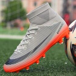 Kwitnące buty piłkarskie dla dorosłych mężczyźni chłopiec korki wysoka kostka dzieci profesjonalne бутсы rozmiar 35 45 chuteira futebol|Buty piłkarskie|   -