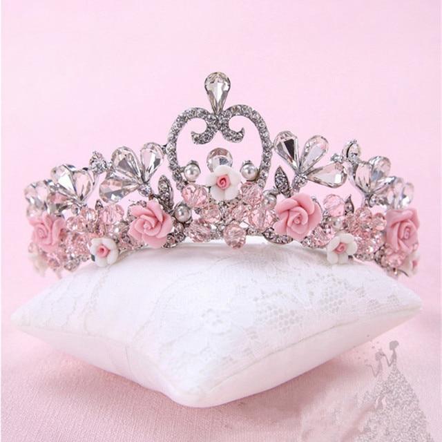Gorgeous Rhinestone Handmade Floral Tiara Crystal Beads Flower Hair Ornaments Bridal Crown Prom Wedding Hair Accessories
