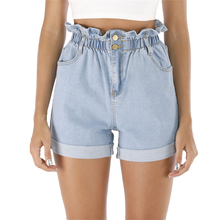 купить 2019 Summer High Waist Denim Shorts Roll Up Hem Elastic Waist Pocket Jean Shorts For Girls по цене 1059.55 рублей