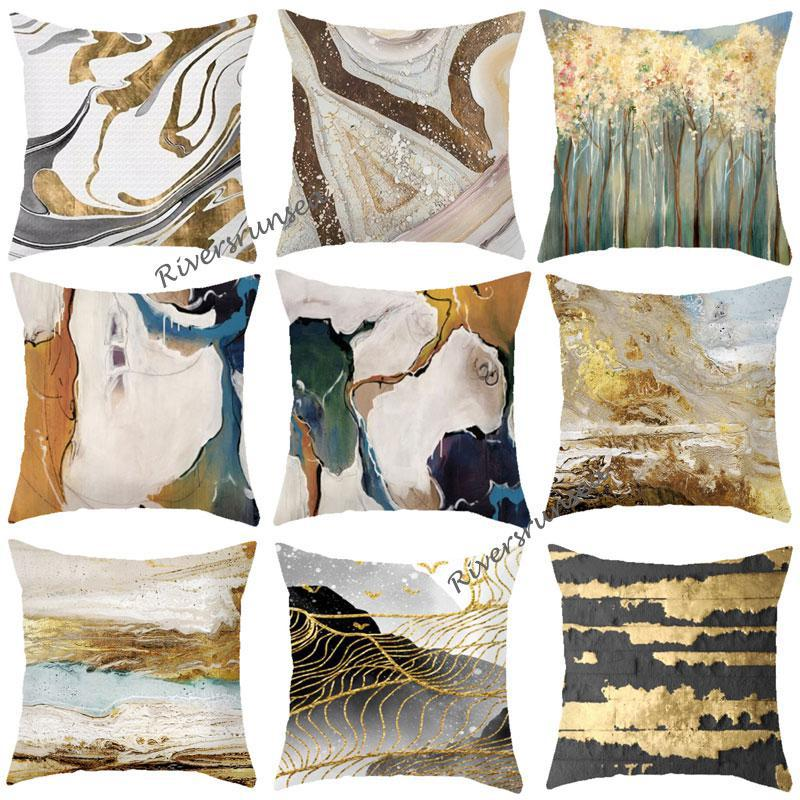 New Arrival Geometric Pattern Throw Pillows Creative Abstract Marble Cushion Hand Painted Mountain Forest For Living Room Sofa