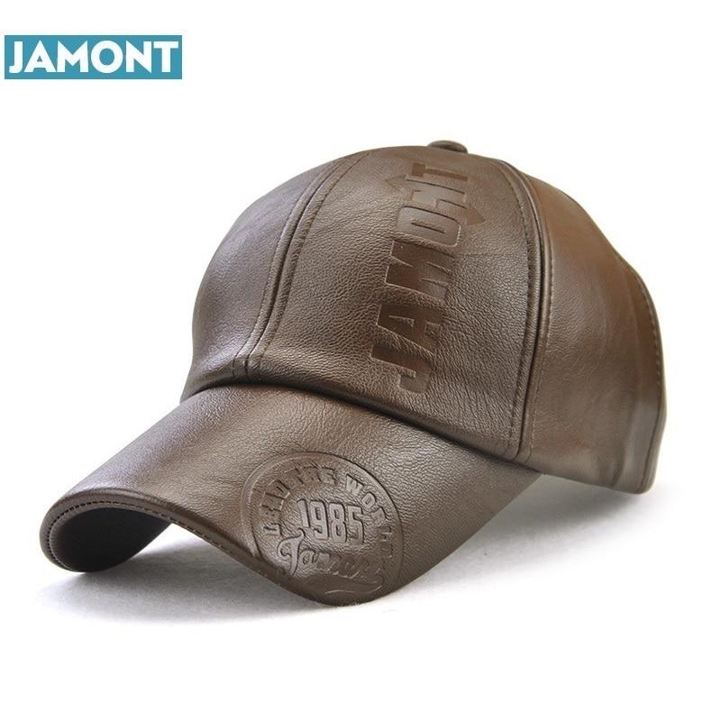 JAMONT New fashion high quality fall winter men leather hat   Cap   casual moto snapback hat men's   baseball     cap   wholesale