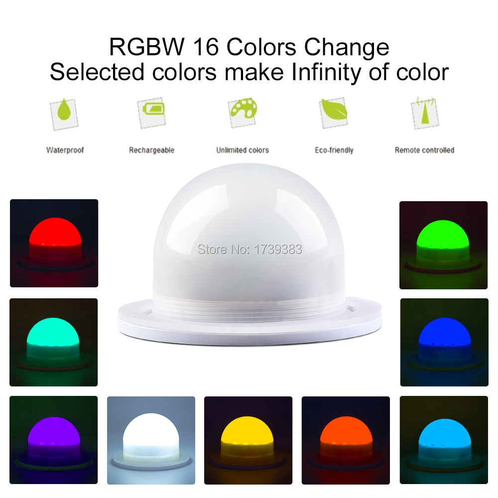 10Pcs/Lot 85mm Bulblite RGB + White LED lighting system Waterproof Rechargeable Bulb Lite LED under table light IR Control dhl free ship wireless rechargeable rgb led lighting system waterproof for furniture bulb lite led under table light