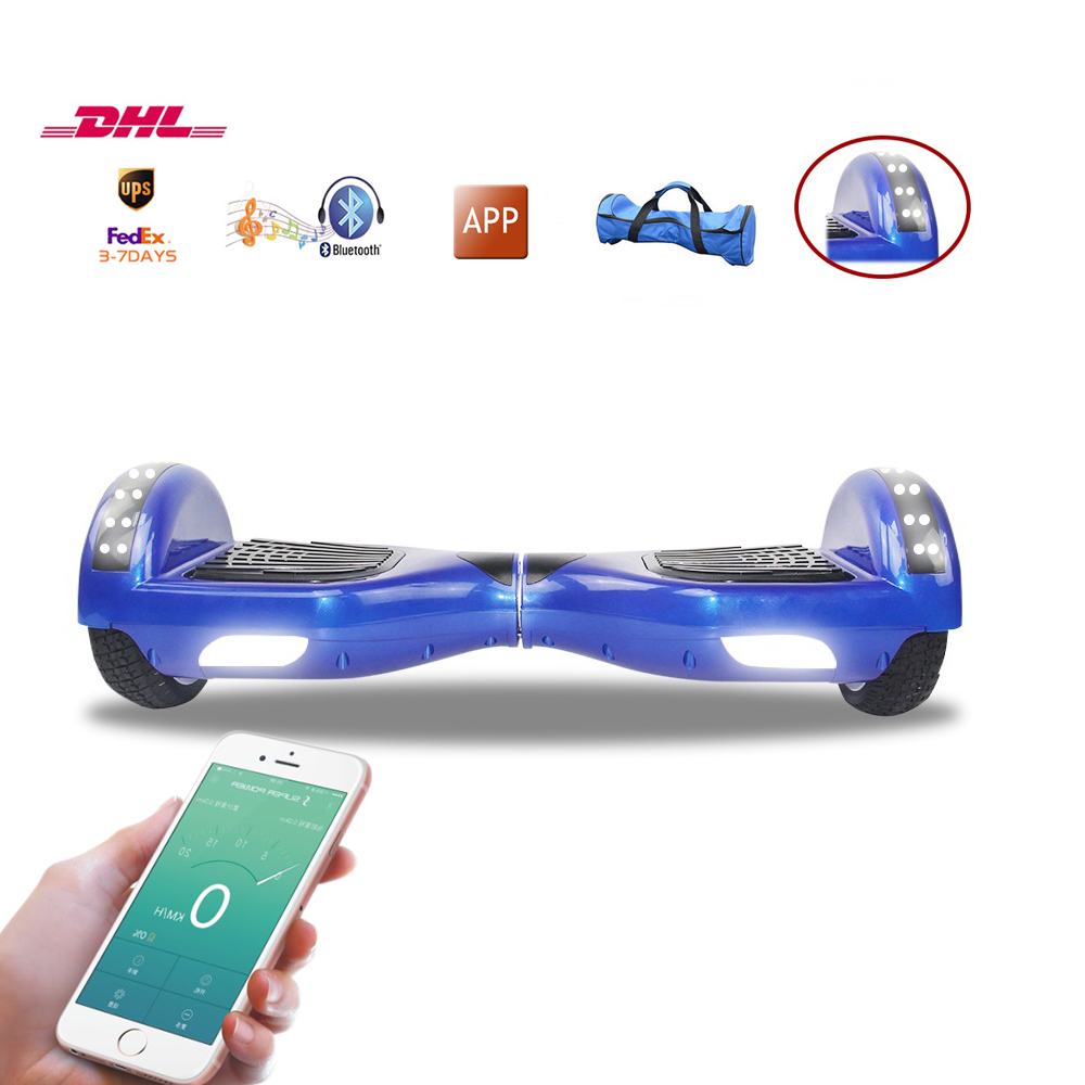 New 6.5 inch 2 wheels smart hoverboard self balance scooter APP control hover board bluetooth music  free freight fast shipping acquanegra 5036 m144