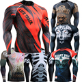 3D Rash Skull Guard Technical Compression Shirt with Complete Graphic Tight Tops Bodybuilding Trainning Running Shirts 4XL