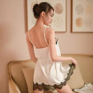 Image 5 - Sinunow marka kobiet sleep & salon dwa pic satyna jedwabna bielizna nocna kobiet koszule nocne Sexy bielizna nocna mini koszula nocna szlafrok zestaw