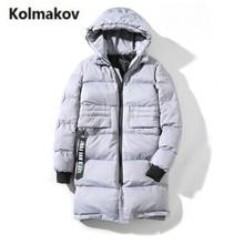KOLMAKOV 2017 new winter prime quality Men's cotton-padded jacket coats,lengthy hooded Thick parkas free coat males,massive measurement M-5XL