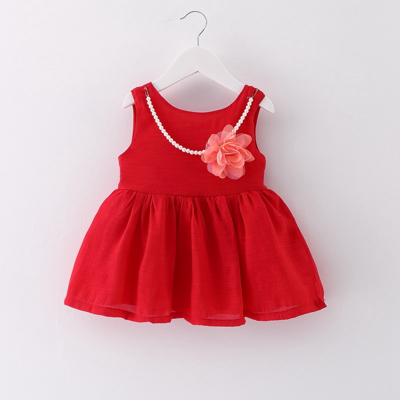 2017 Summer Baby Girls Red Sleeveless Ball Gown Tutu Princess Party Kids Dress Sundress Necklace vestidos