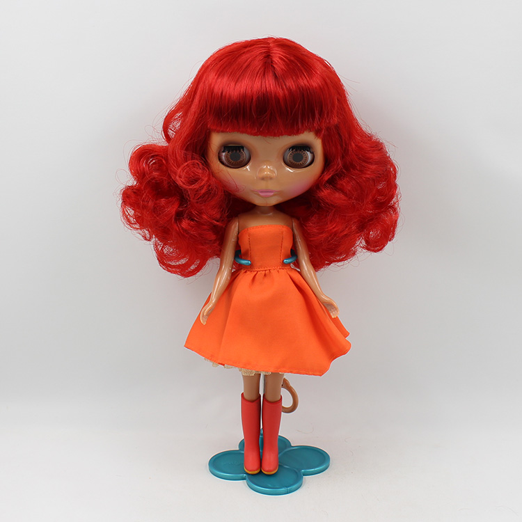 12 inch Blyth doll b female doll nude bjd 1/6 doll red short curly black muscle doll big eyes modified make up dolls for girls ...