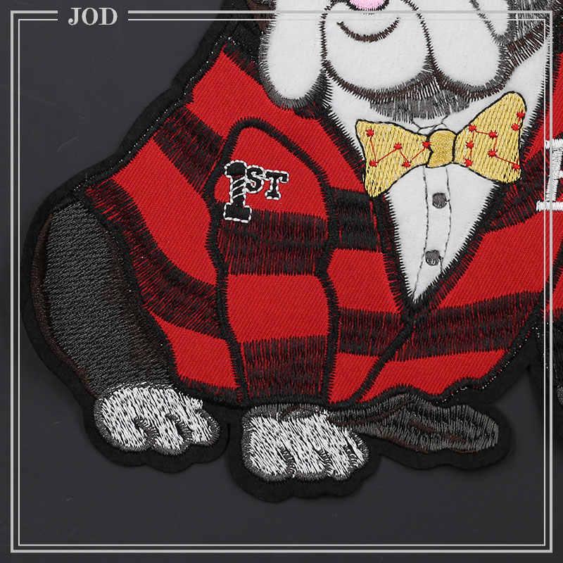 챔피언 크라운 개 퍼그 자수 패치 의류 스웨터에 대한 큰 대형 봉제 패치 decotative jacket sew on sofa bag diy
