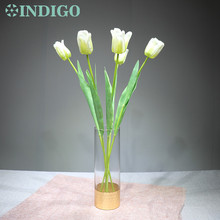New 3D Printing Petal 5pcs White Tulip Flower Decoration Wedding Table Centerpiece Artificial Event Party Free Shipping