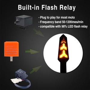 Image 4 - 4 قطعة LED بدوره إشارات للدراجات النارية تدفق المياه وقف إشارة بنيت التتابع الوامض دراجة نارية السهام انحناء ضوء الفرامل المتعري