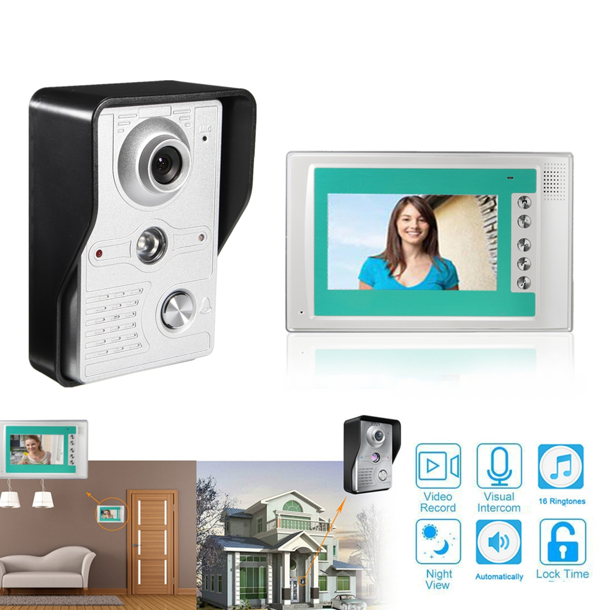 Digital Peephole Door Viewer 7inch Front Video Door Peephole Camera Doorbell with Intercom Unlocking Auto-record FunctionDigital Peephole Door Viewer 7inch Front Video Door Peephole Camera Doorbell with Intercom Unlocking Auto-record Function