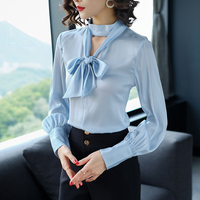 2018 New Spring Autumn High Quality OL Women S Shirt Silk Long Sleeve Bow Tie Red