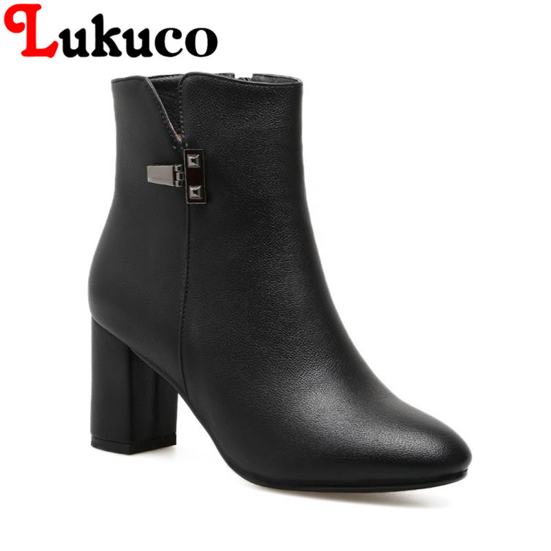 2017 EUR size 37 38 39 40 41 Lukuco women boots elegant style zipper popular design high quality lady winter shoes free shipping