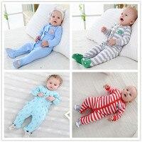 Nieuwe Geboren Baby Kleding 3-12M Kinderen Footed Pyjama Baby Jongens Meisjes Katoen Lente Roupas Cartoon Algehele Baby boutique Kleren Uit 4
