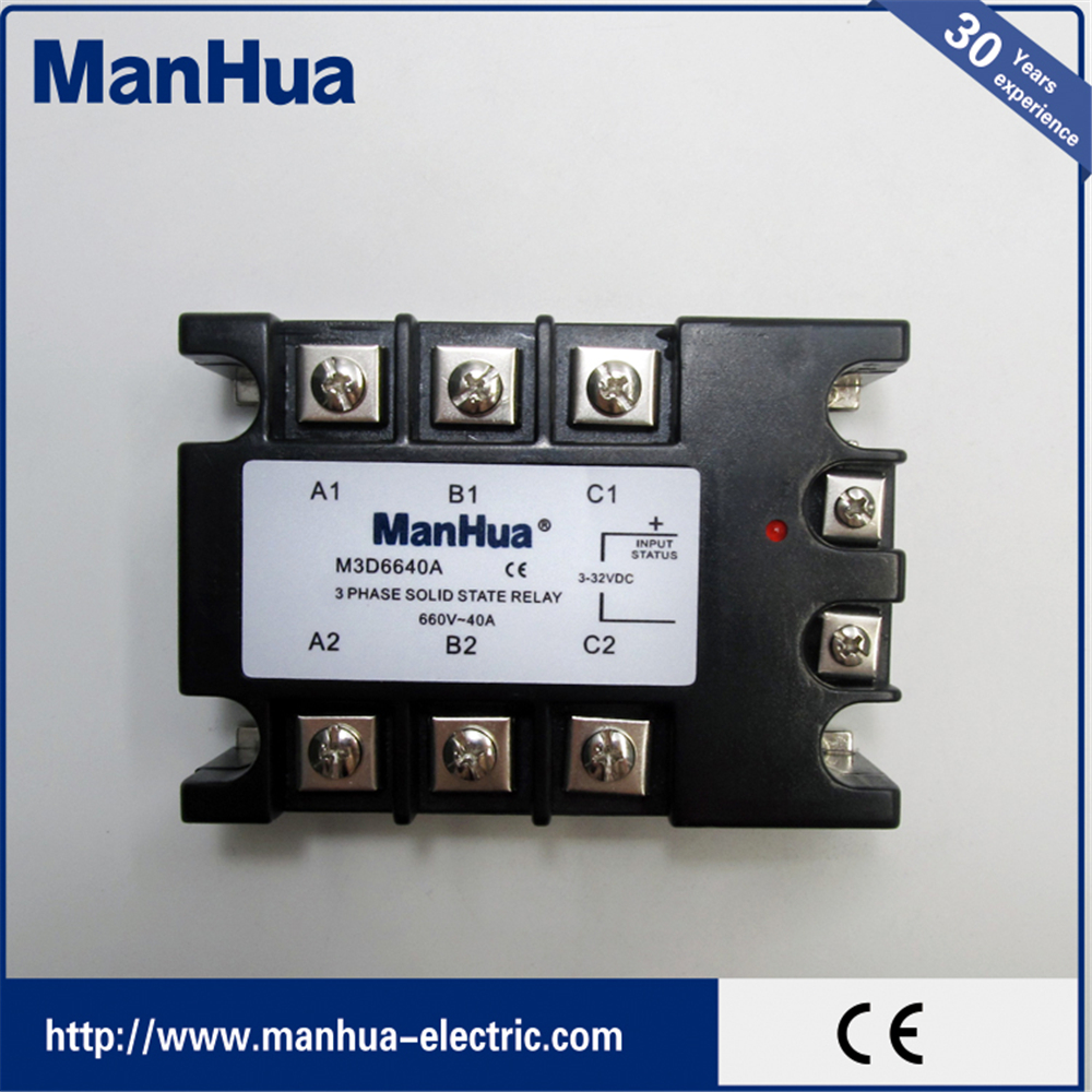 660V Three Phase Solid Relay DC 3-32V control AC660V 40A Solid State Relay SSR Relay With CE Certificates mager three phase solid state relay dc control ac mrssr 3 mgr 3 032 3890z 90a
