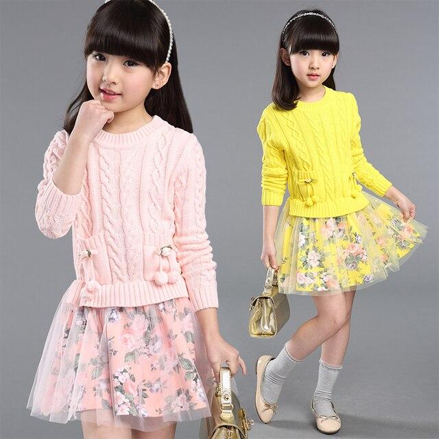 2019 nouveau printemps fille robe enfants vêtements mode patchwork tricoté  floral princesse robe enfants filles vêtements