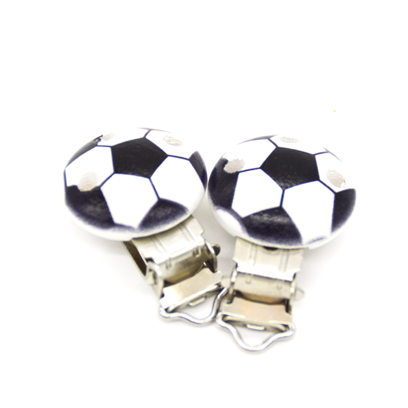5PCs Baby Pacifier Clips Black Football Printed White Wood Metal Holders Clasps 4.4cm X 2.9cm(1 6/8
